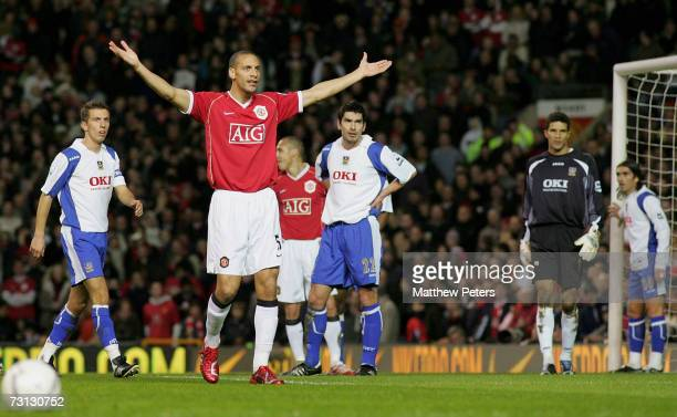 Rio Ferdinand of Manchester United appeals to the linesman after a Nemanja Vidic goal was ruled out during the FA Cup sponsored by EON Third Round...