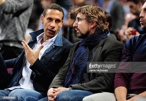Rio Ferdinand of Manchester United attends the NBA pre season match between Oklahoma City Thunder and Philadelphia 76ers at Phones 4 U Arena on...