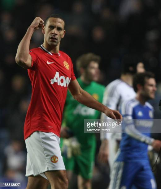 Rio Ferdinand of Manchester United celebrates after the Barclays Premier League match between Chelsea and Manchester United at Stamford Bridge on...