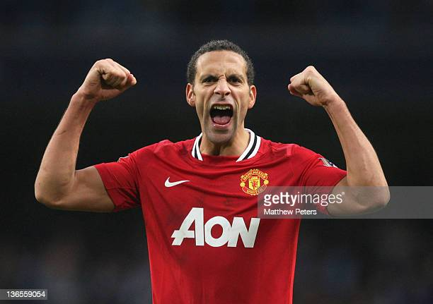 Rio Ferdinand of Manchester United celebrates after the FA Cup Third Round match between Manchester City and Manchester United at Etihad Stadium on...