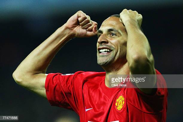 Rio Ferdinand of Manchester United celebrates his goal during the Champions League Group F match between Dynamo Kiev and Manchester United at the...