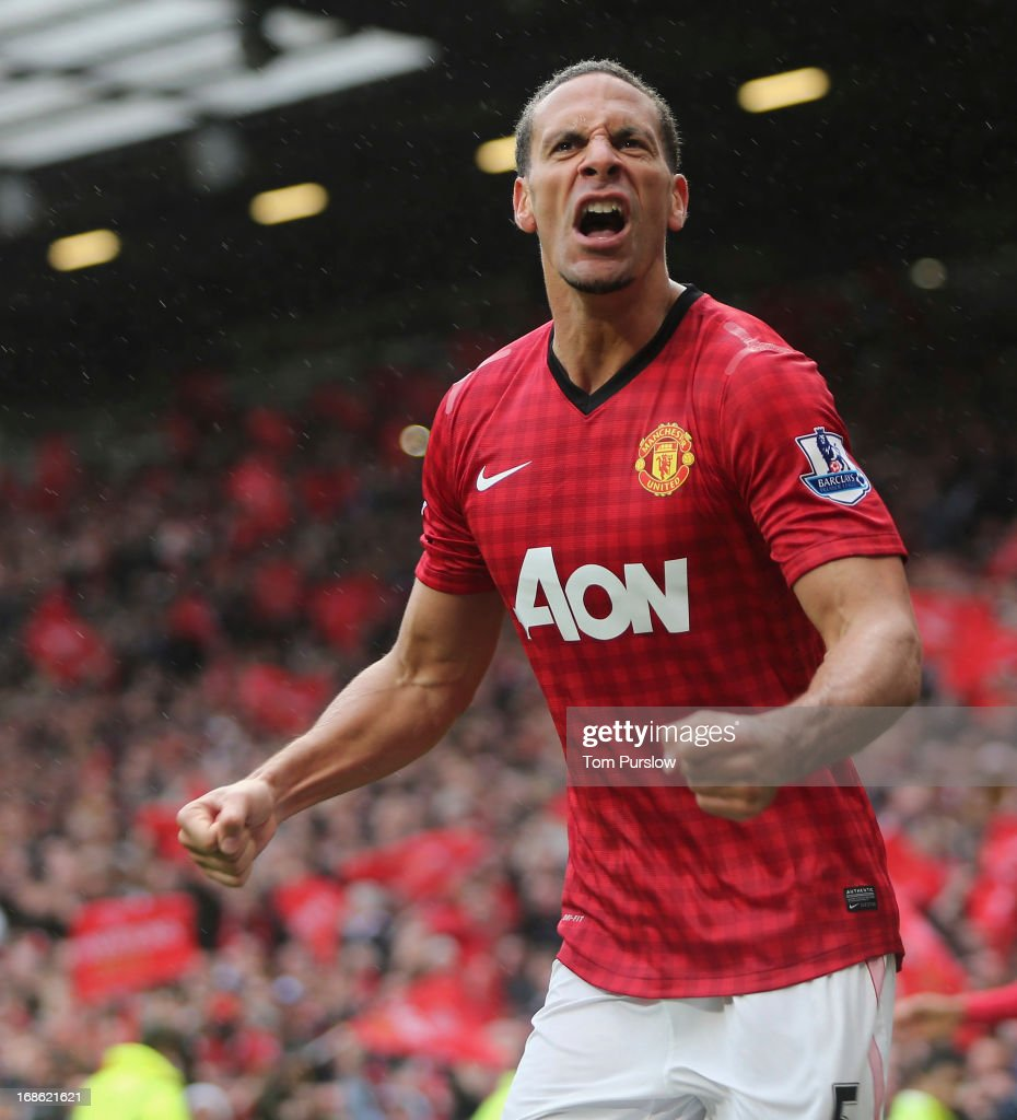 Rio Ferdinand of Manchester United celebrates scoring their second goal during the Barclays Premier League match between Manchester United and Swansea City at Old Trafford on May 12, 2013 in Manchester, England.