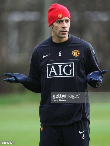 Rio Ferdinand of Manchester United gestures during a First Team Training Session at Carrington Training Ground on November 27 2008 in Manchester...