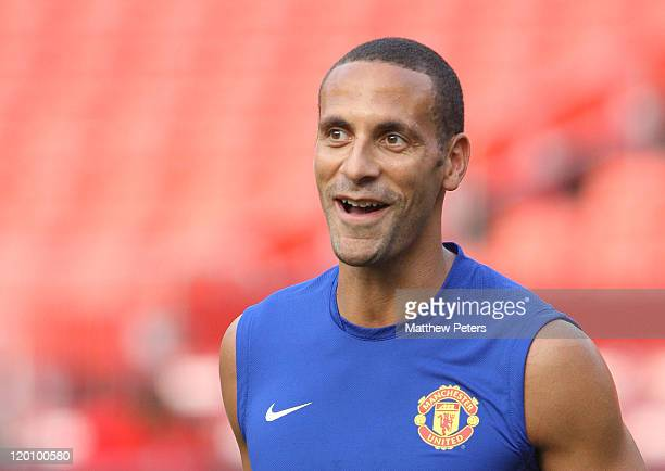 Rio Ferdinand of Manchester United in action during a first team training session as part of their preseason tour of the USA at FedExField on July 29...