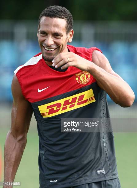 Rio Ferdinand of Manchester United in action during a first team training session as part of their preseason tour of South Africa and China on July...