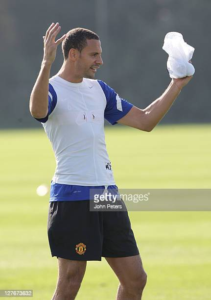 Rio Ferdinand of Manchester United in action during a first team training session at Carrington Training Ground on September 30, 2011 in Manchester,...