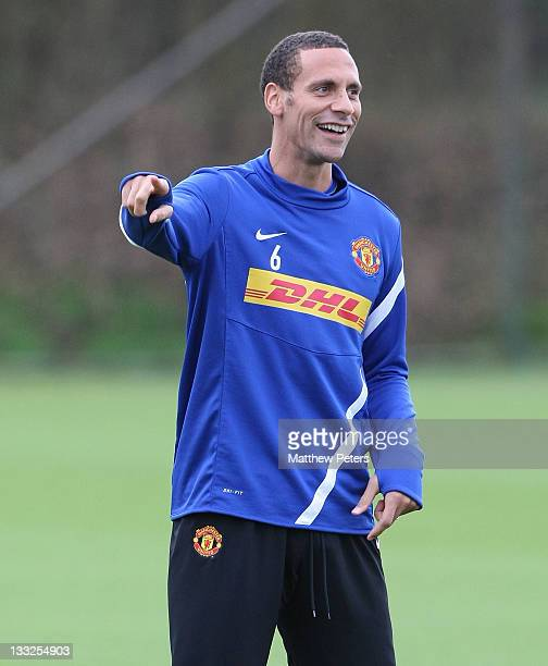 Rio Ferdinand of Manchester United in action during a first team training session at Carrington Training Ground on November 18, 2011 in Manchester,...