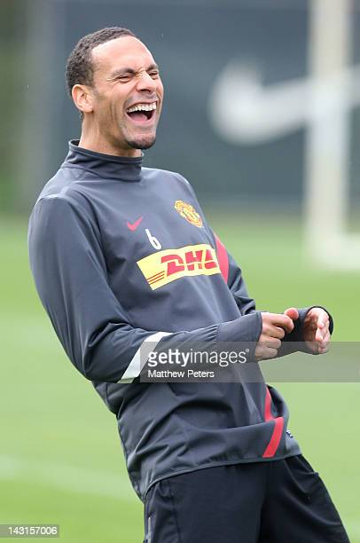 Rio Ferdinand of Manchester United in action during a first team training session at Carrington Training Ground on April 20 2012 in Manchester England