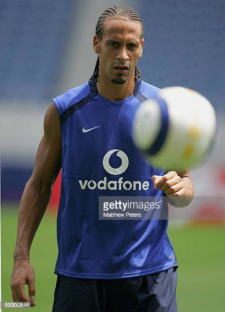 Rio Ferdinand of Manchester United in action during a first team training session at Saitama Stadium on July 29, 2005 in Saitama, Japan.