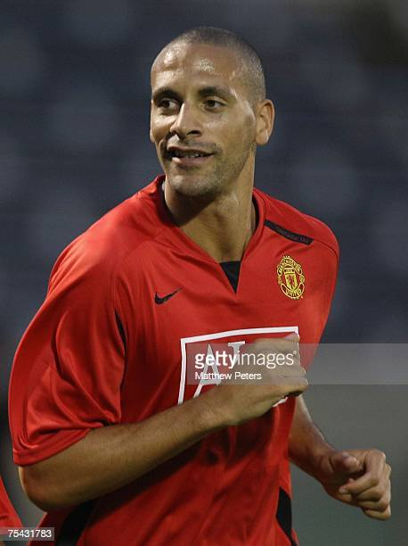 Rio Ferdinand of Manchester United in action during a First Team training session at the start of their Far East Tour at Nishigaoka Stadium on July...
