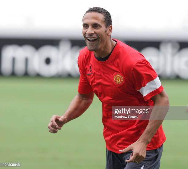 Rio Ferdinand of Manchester United in action during a first team training session ahead of their UEFA Champions League Group C match against Valencia...
