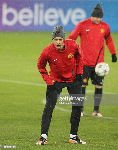 Rio Ferdinand of Manchester United in action during a first team training session ahead of their UEFA Champions League Group C match against FC Basel...