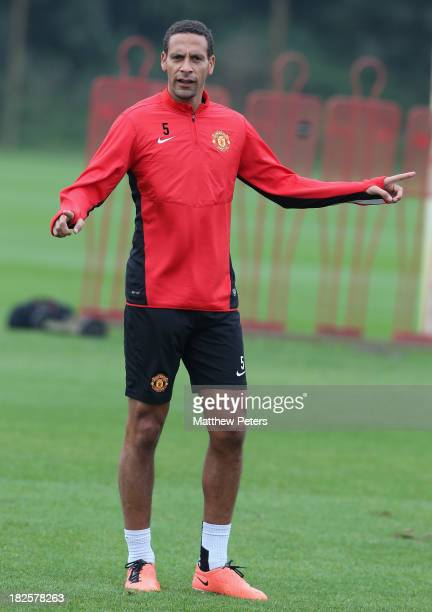 Rio Ferdinand of Manchester United in action during a first team training session ahead of their UEFA Champions League match against Shaktar Donetsk...