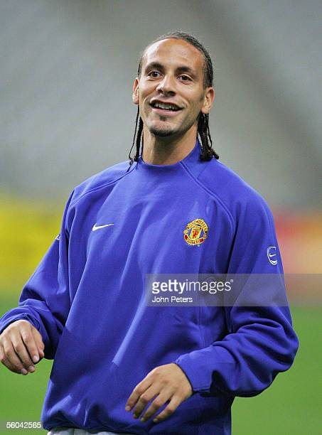 Rio Ferdinand of Manchester United in action during a first team training session ahead of the UEFA Champions League match against Lille at the Stade...