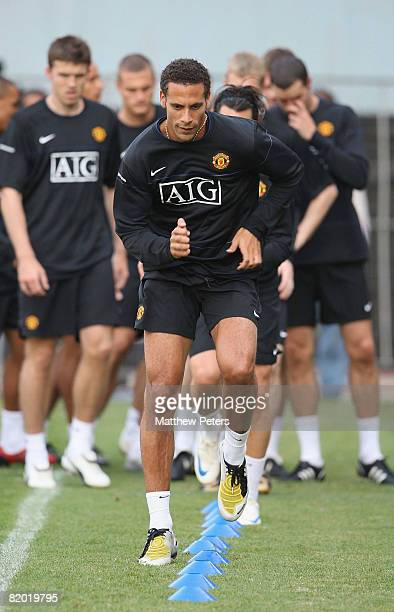 Rio Ferdinand of Manchester United in action during a first team training session during their preseason tour to South Africa at ABSA Stadium on July...