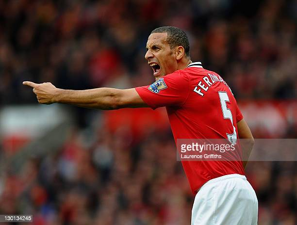 Rio Ferdinand of Manchester United in action during the Barclays Premier League match between Manchester United and Manchester City at Old Trafford...