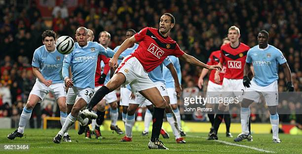 Rio Ferdinand of Manchester United in action during the Carling Cup SemiFinal Second Leg match between Manchester United and Manchester City at Old...