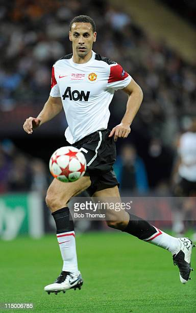 Rio Ferdinand of Manchester United in action during the UEFA Champions League final between FC Barcelona and Manchester United FC at Wembley Stadium...