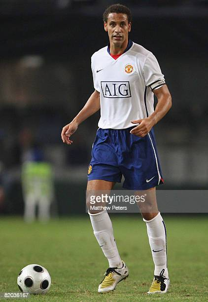 Rio Ferdinand of Manchester United in action during the Vodacom Challenge preseason friendly match between Orlando Pirates and Manchester United at...