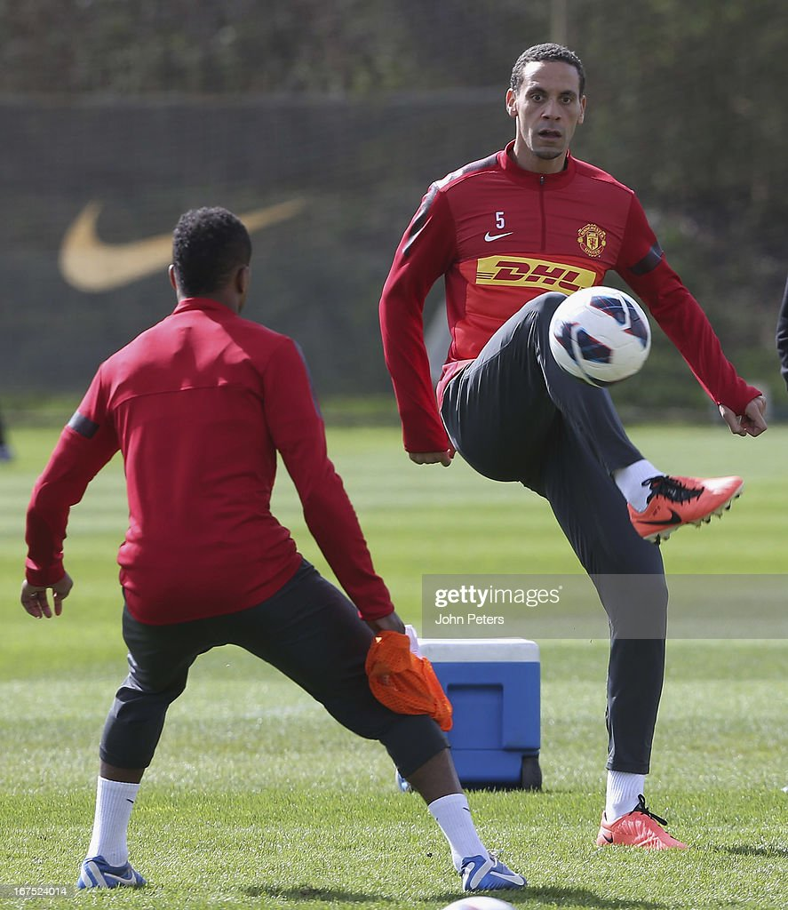 Rio Ferdinand of Manchester United in actoin during a first team training session at Carrington Training Ground on April 26, 2013 in Manchester, England.