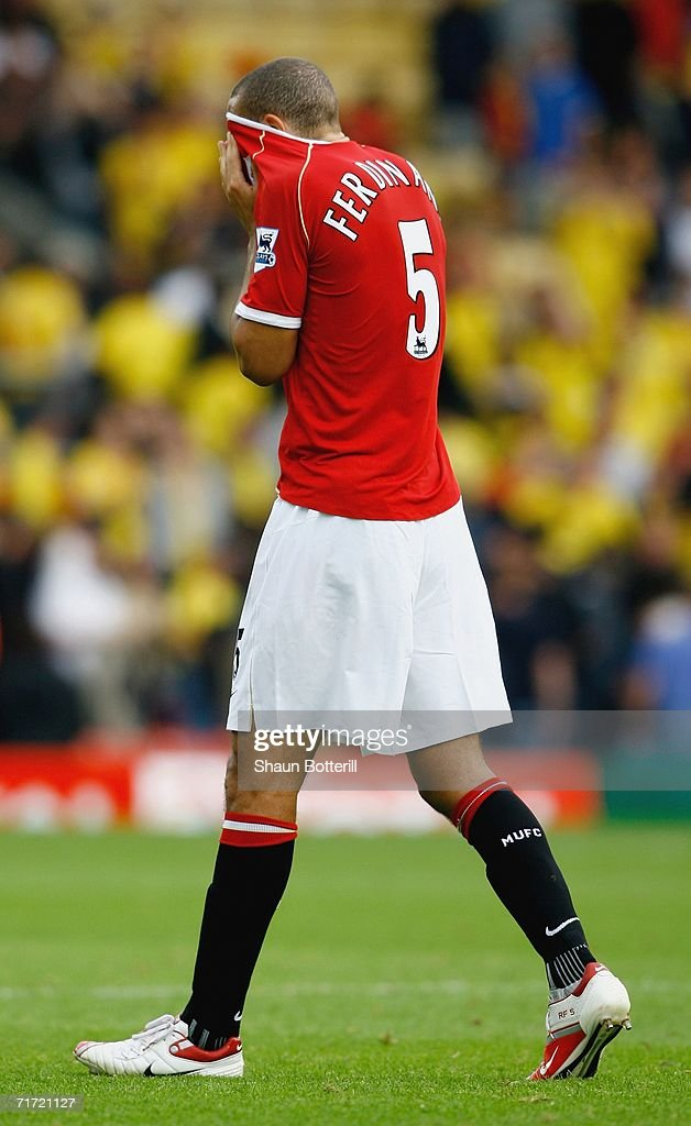 Rio Ferdinand of Manchester United leaves the pitch at the end of the Barclays Premiership match between Watford and Manchester United at Vicarage Road on August 26, 2006 in Watford, England.