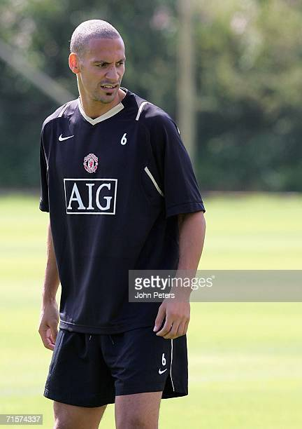 Rio Ferdinand of Manchester United looks on during a first team training session at Carrington Training Ground on August 3 2006 in Manchester England