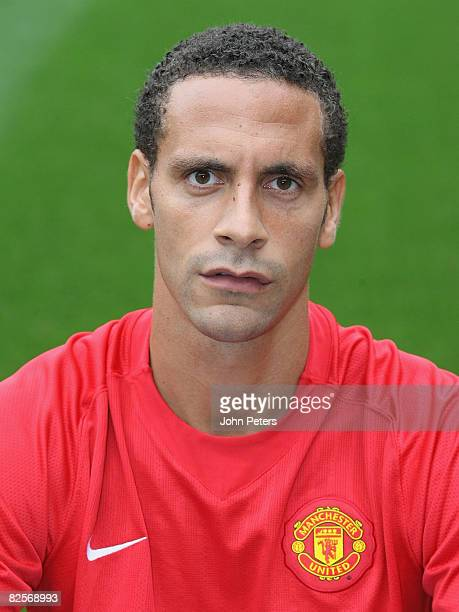 Rio Ferdinand of Manchester United poses during the club's official annual photocall at Old Trafford on August 27 2008 in Manchester England