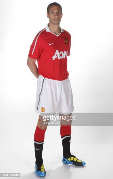 Rio Ferdinand of Manchester United poses in the new Manchester United home kit for the 2010/2011 season on April 14 2010 in Manchester England