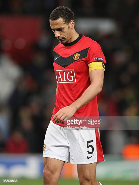 Rio Ferdinand of Manchester United shows his disappointment after the UEFA Champions League QuarterFinal Second Leg match between Manchester United...