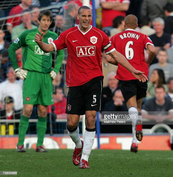 Rio Ferdinand of Manchester United shows his frustration after scoring an owngoal during the Barclays Premiership match between Portsmouth and...