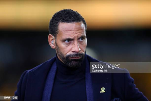 Rio Ferdinand pitchside for BT Sport television during the FA Cup Third Round match between Wolverhampton Wanderers and Manchester United at Molineux...