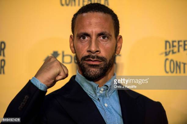 Rio Ferdinand poses for photos during a press conference at The Town Hall Hotel on September 19, 2017 in London, England. Retired England...
