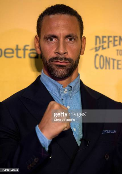 Rio Ferdinand poses for photos during a press conference at The Town Hall Hotel on September 19 2017 in London England Retired England international...
