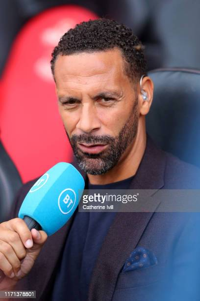 Rio Ferdinand presents for BT sport ahead of the Premier League match between Southampton FC and Manchester United at St Mary's Stadium on August 31...