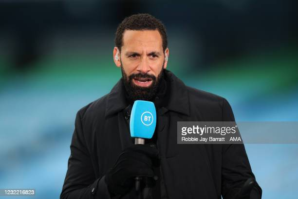Rio Ferdinand reporting for BT Sport ahead of the Premier League match between Manchester City and Leeds United at Etihad Stadium on April 10, 2021...