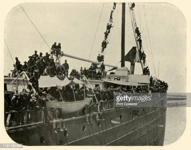 """Rio Grande"" Backing Out', Spanish-American War, 12 June 1898, . American soldiers leaving Port Tampa, Florida, USA, on their way to Cuba. From ""The..."
