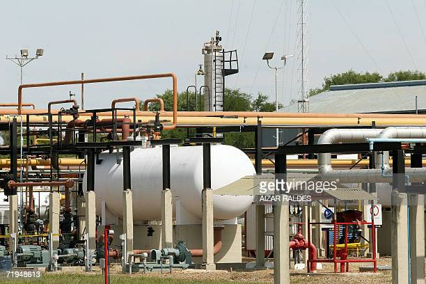 Picture of the Spanish Repsol YPF gas and oil refinery in Rio Grande 80 km from Santa Cruz Bolivia 04 May 2006 Spanish energy giant Repsol YPF said...