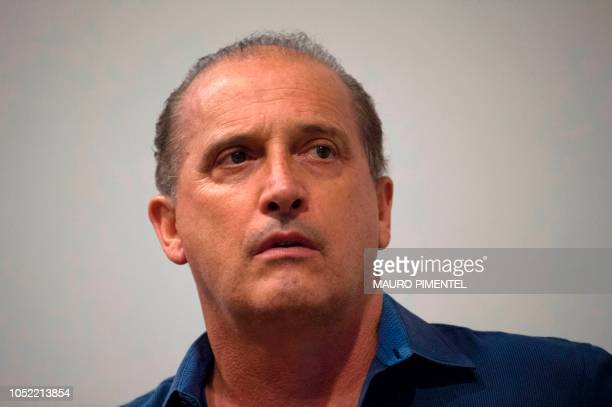 Rio Grande do Sul Congressman Onyx Lorenzoni gestures during a press conference of the rightwing presidential candidate for the Social Liberal Party...