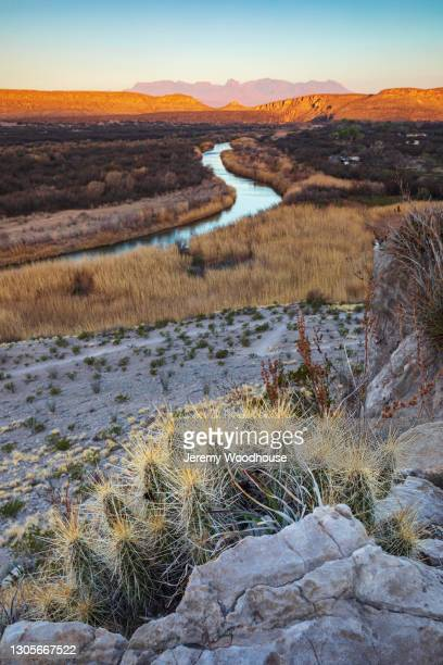 rio grande river and chisos mountains view - chisos mountains stock pictures, royalty-free photos & images