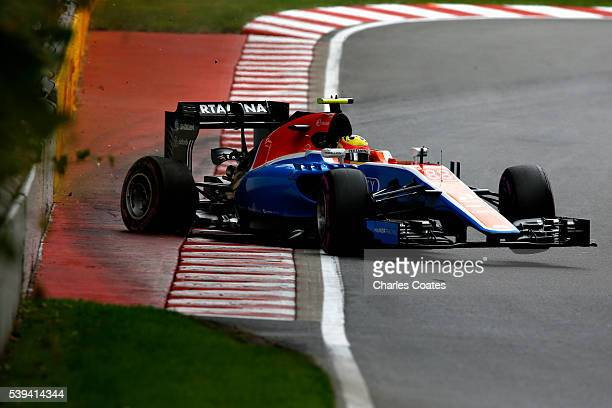 Rio Haryanto of Indonesia driving the Manor Racing MRTMercedes MRT05 Mercedes PU106C Hybrid turbo crashes into the wall during qualifying for the...