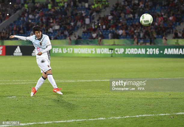 Rio Kanekatsu of Japan misses a penalty during the FIFA U17 Women's World Cup Jordan 2016 Final match between Korea DPR and Japan at Amman...