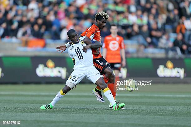 Rio Mavuba of Lille and Didier Ndong of Lorient during the French Ligue 1 match between Fc Lorient and Lille OSC at Stade du Moustoir on April 30,...