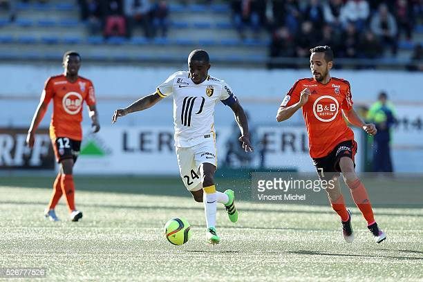 Rio Mavuba of Lille during the French Ligue 1 match between Fc Lorient and Lille OSC at Stade du Moustoir on April 30, 2016 in Lorient, France.