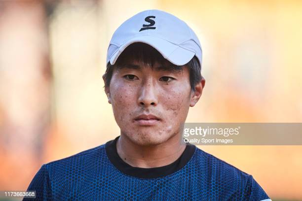 Rio Noguchi of Japan looks on during his Mens round of 32 match against Carlos Alcaraz of Spain on day two of the ATP Sevilla Chalenger at Real Club...