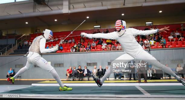 Rio Olympian Miles ChamleyWatson of the USA attacks teammate Alexander Massialis during semifinal action in the Men's Foil event on June 13 2017 at...