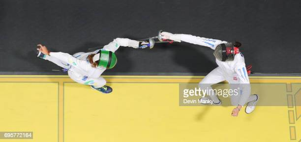 Rio Olympian Nathalie Moellhausen of Brazil fences against Josefina Maria Mendez Bello of Argentina during the Women's Epee event on June 13 2017 at...