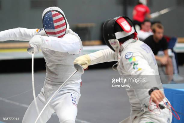 Rio Olympian Race Imboden of the USA fences against Heitor Shimbo of Brazil during the Men's Foil event on June 13 2017 at the PanAmerican Fencing...