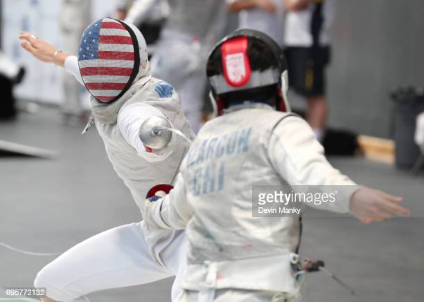 Rio Olympian Race Imboden of the USA fences Juvenal Alarcon of Chile in the initial rounds during the Men's Foil event on June 13 2017 at the...