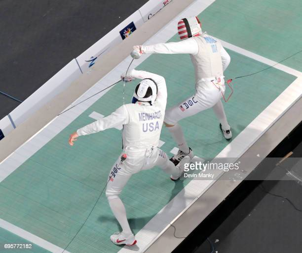 Rio Olympian Race Imboden of the USA fences teammate Gerek Meinhardt during semifinal action in the Men's Foil event on June 13 2017 at the...
