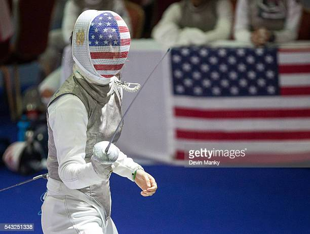 Rio Olympian Sabrina Massialas of Team USA competes during the Team Women's Foil event at the PanAmerican Fencing Championships on June 26 2016 at...